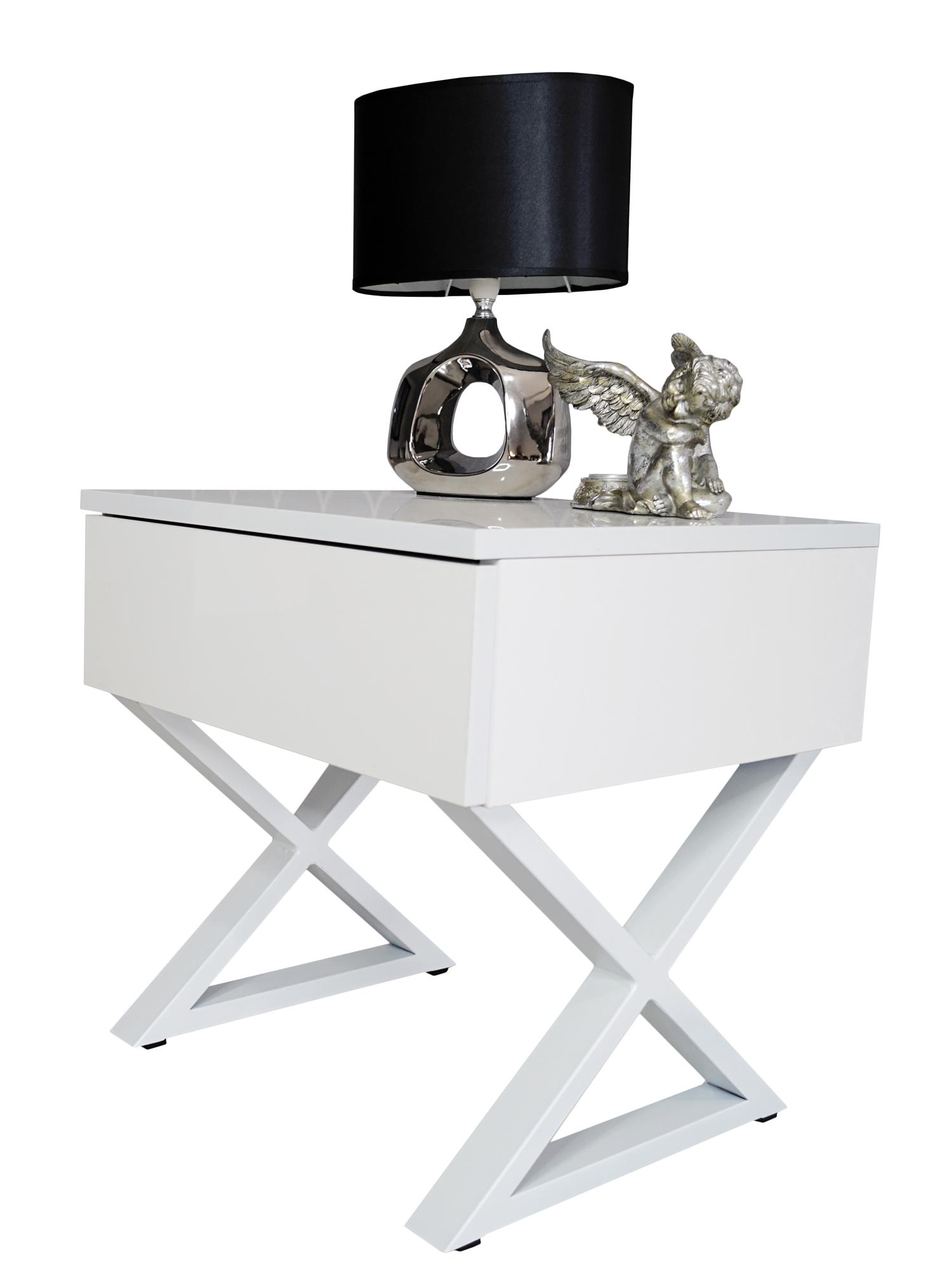 Stolik Nocny Metalowe Białe Nóżki X Glamour
