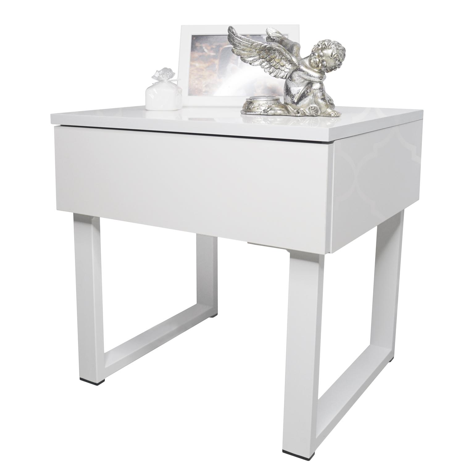 Stolik Nocny Metalowe Białe Nóżki Glamour